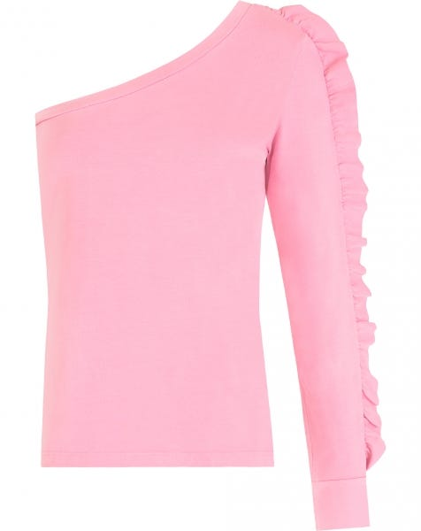 ONE SHOULDER RUFFLE TOP PINK
