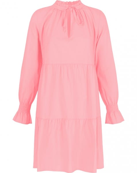 POPLIN TRAPEZE DRESS PEACH