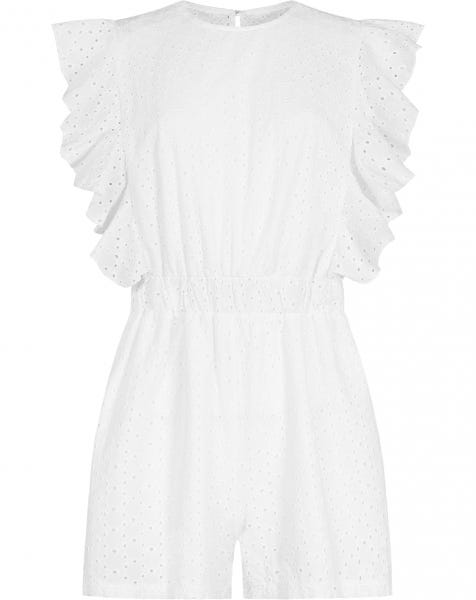 BRODERIE RUFFLE PLAYSUIT WHITE
