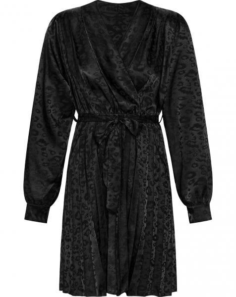 JACQUARD LEO PLISSE DRESS BLACK