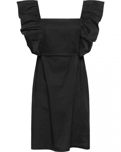 POPLIN BIG RUFFLE DRESS BLACK