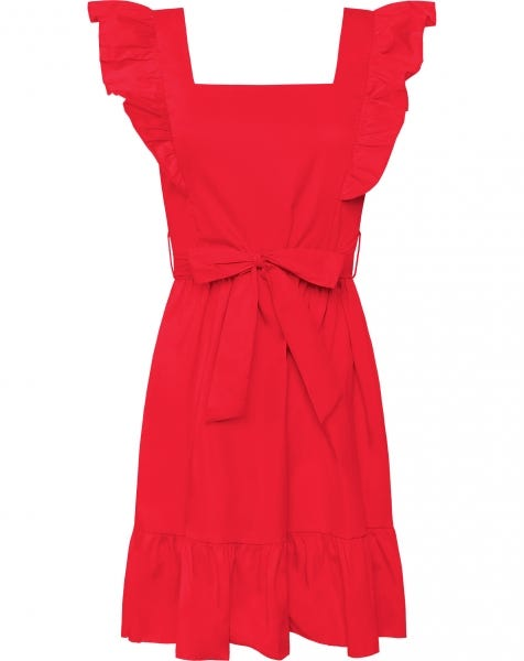 MILEY POPLIN DRESS RED