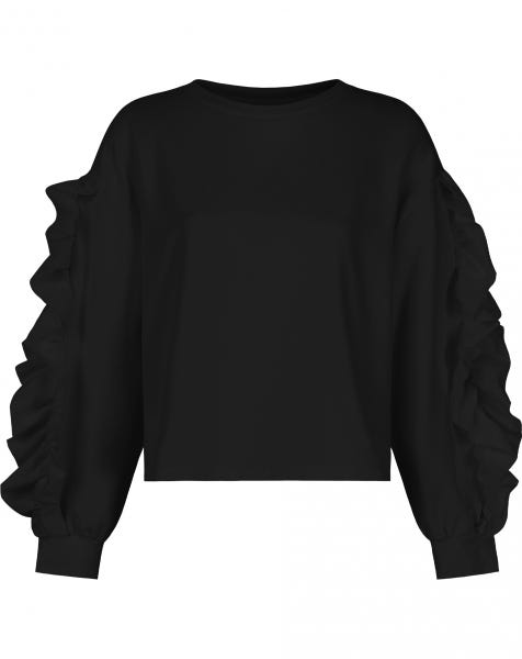 RUFFLE SLEEVE SWEATER BLACK