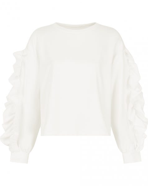 RUFFLE SLEEVE SWEATER CREAM