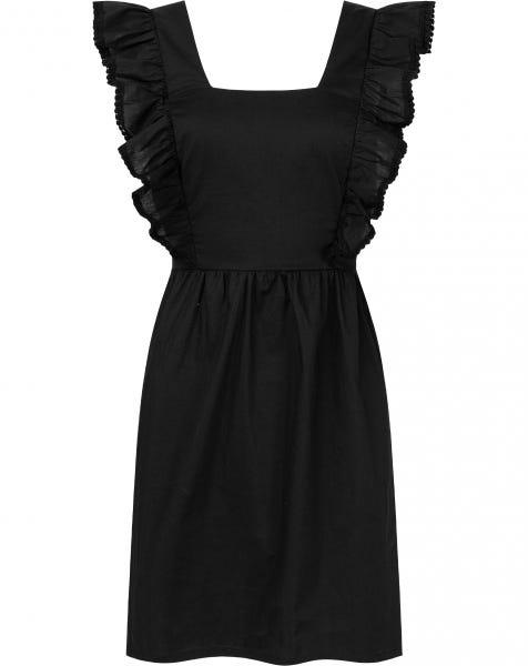POPLIN POMPOM DRESS BLACK
