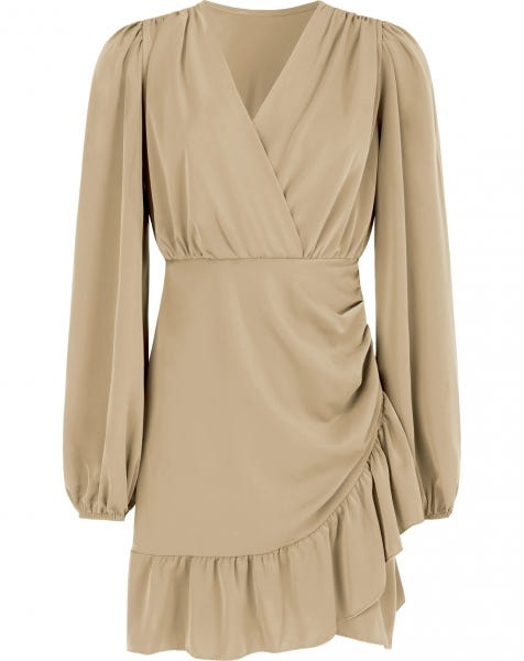 FAWN RUFFLE DRESS BEIGE