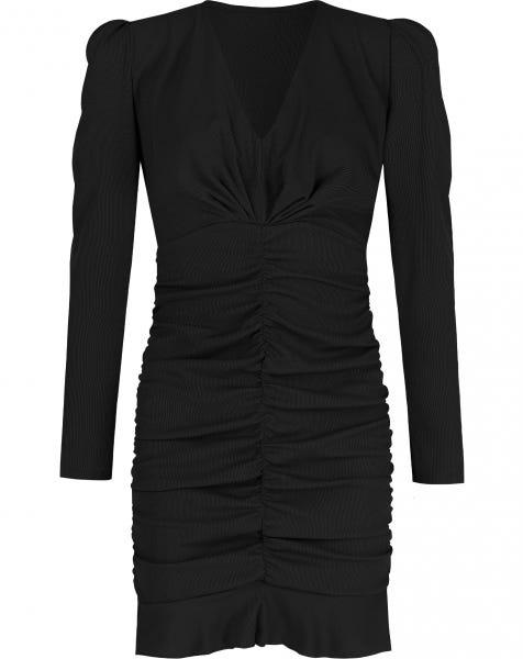 MILEY RIBBED DRESS BLACK