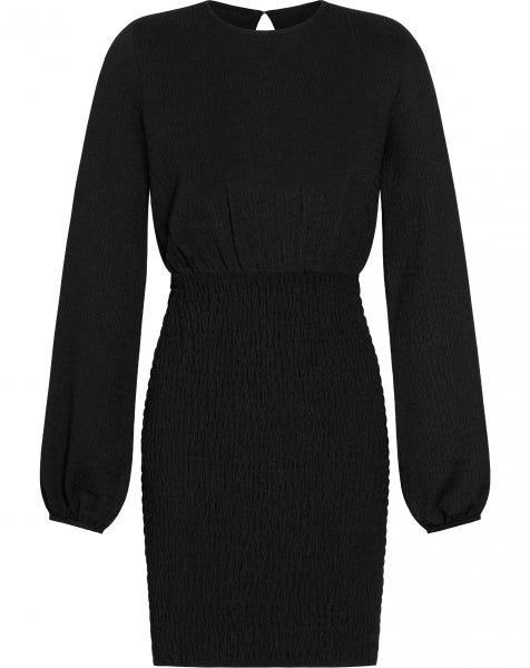 CRINKLE SMOCK DRESS BLACK