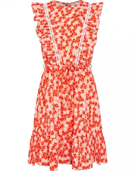 CLEO FLOWERS DRESS CORAL