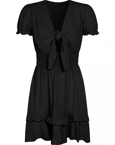 FRONT KNOT RUFFLE DRESS BLACK
