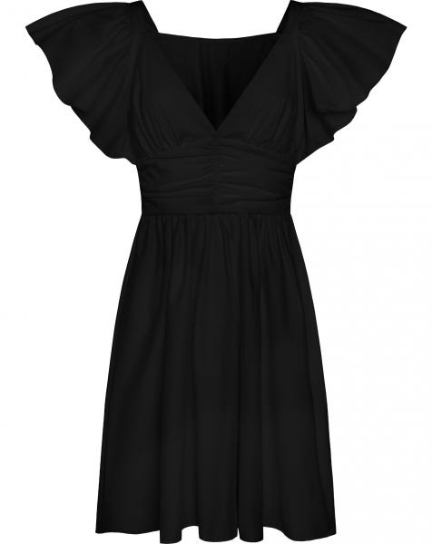 POPLIN SMOCK DRESS BLACK