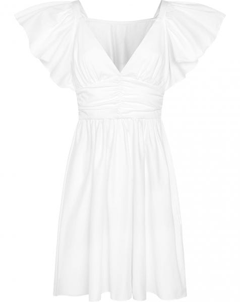 POPLIN SMOCK DRESS WHITE