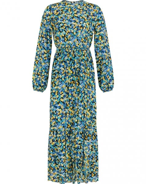 GIGI FLOWERS MAXI DRESS BLUE