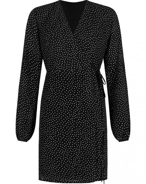 DOTS WRAP DRESS BLACK