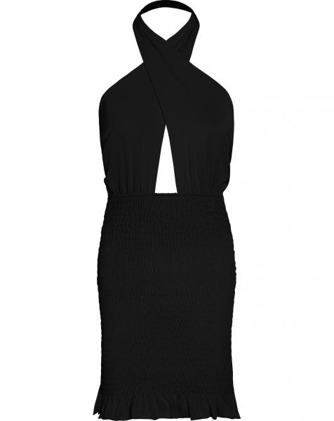 HALTER SMOCK DRESS BLACK