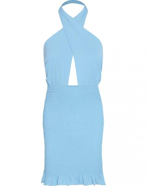 HALTER SMOCK DRESS BLUE