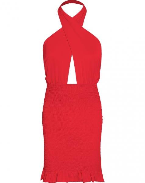 HALTER SMOCK DRESS RED