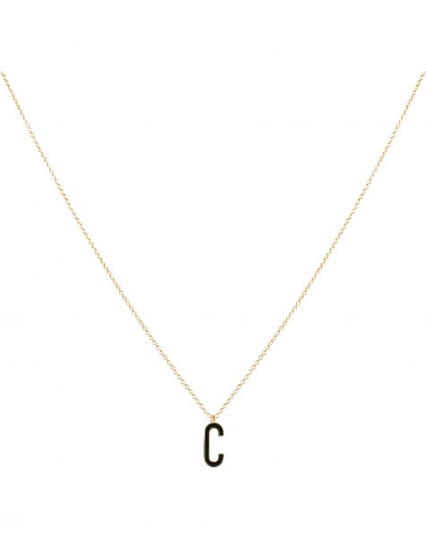 C NECKLACE BLACK GOLD