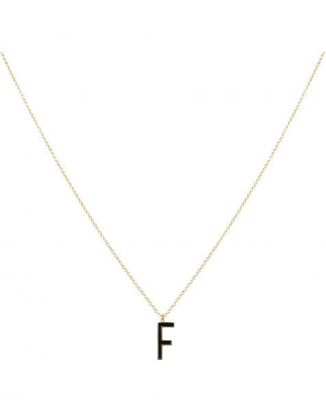 F NECKLACE BLACK GOLD