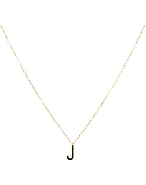 J NECKLACE BLACK GOLD