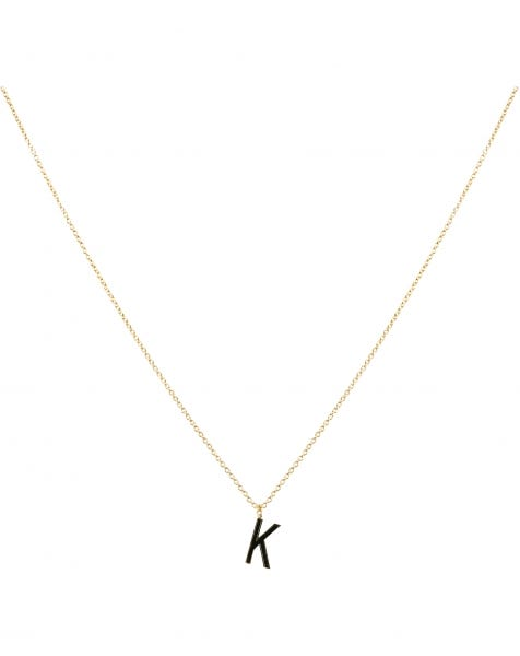 K NECKLACE BLACK GOLD