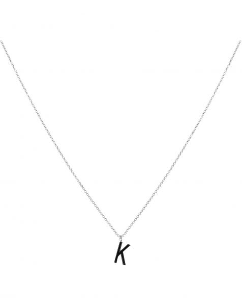 K NECKLACE BLACK SILVER