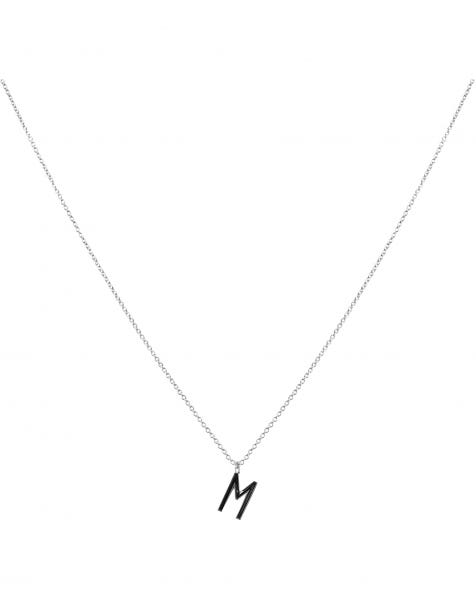 M NECKLACE BLACK SILVER