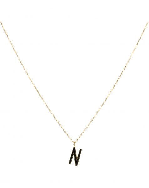 N NECKLACE BLACK GOLD