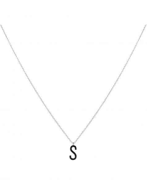 S NECKLACE BLACK SILVER