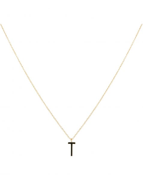 T NECKLACE BLACK GOLD