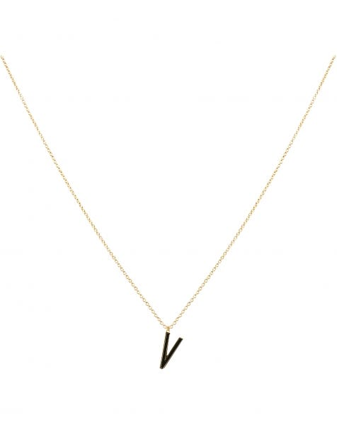 V NECKLACE BLACK GOLD