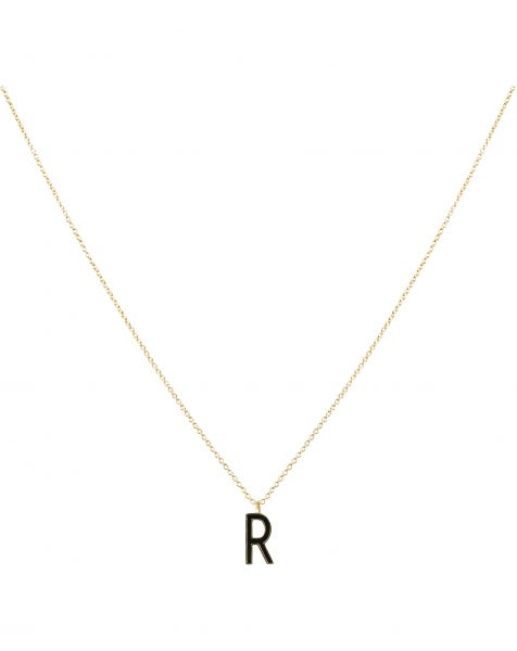 R NECKLACE BLACK GOLD