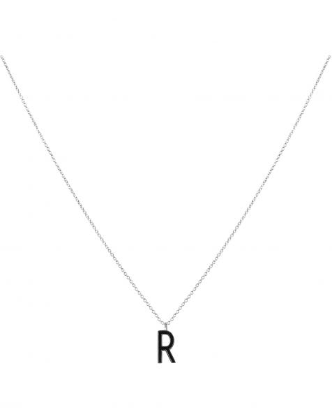 R NECKLACE BLACK SILVER