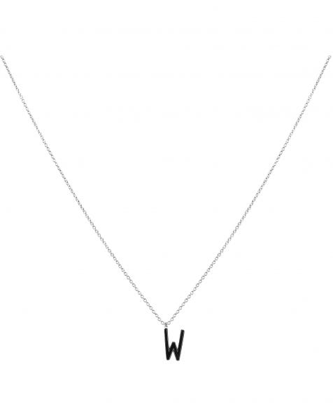 W NECKLACE BLACK SILVER