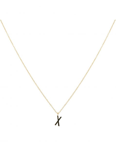 X NECKLACE BLACK GOLD