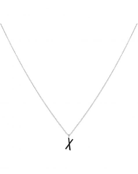 X NECKLACE BLACK SILVER