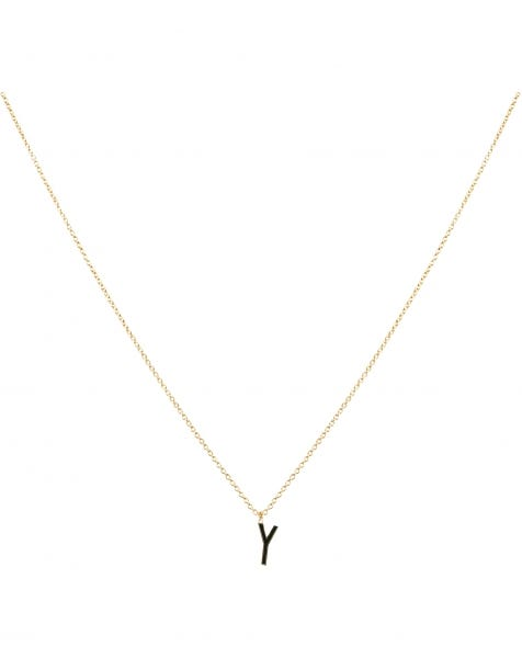 Y NECKLACE BLACK GOLD