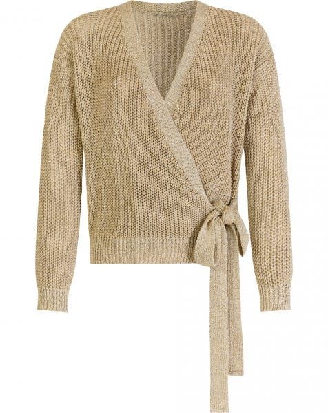 WRAP KNIT CARDIGAN BEIGE GOLD