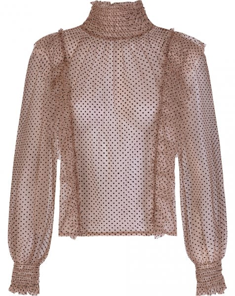 MESH DOTS TOP BEIGE