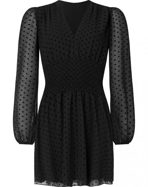 VELVET DOTS DRESS BLACK