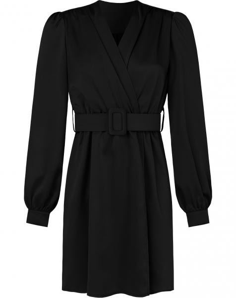 HAILEY SATIN DRESS BLACK