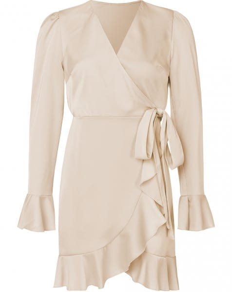 VAMPY WRAP DRESS BEIGE