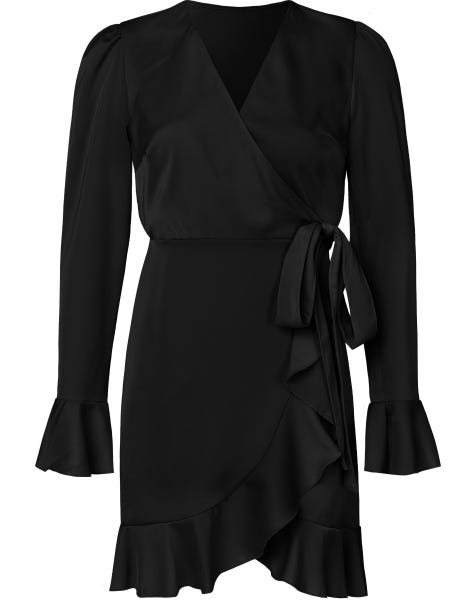 VAMPY WRAP DRESS BLACK