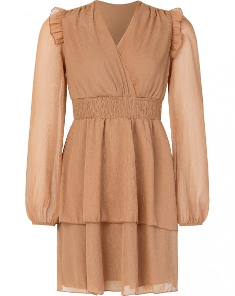 LANA LUREX DRESS CAMEL