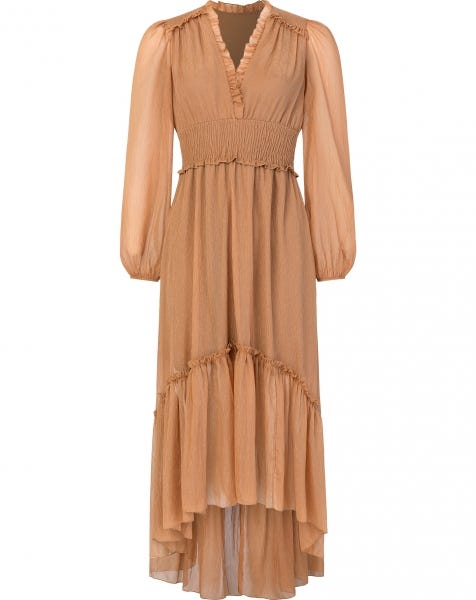 LANA LUREX MAXI DRESS CAMEL