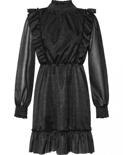 GABY GLITTER RUFFLE DRESS BLACK