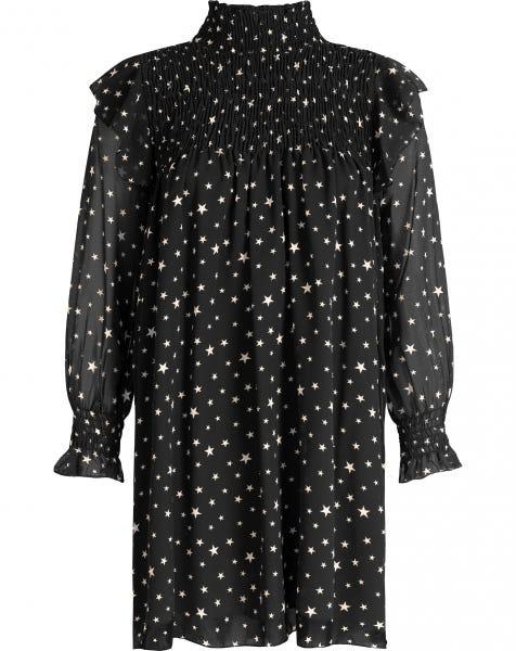 SMOCK STARS DRESS BLACK