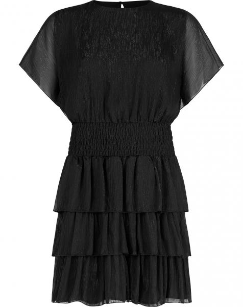 SPARKLY RUFFLE DRESS BLACK