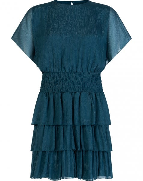 SPARKLY RUFFLE DRESS GREENBLUE