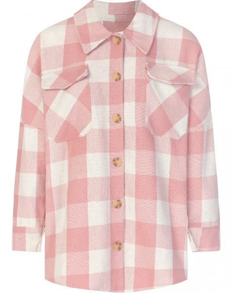 CHECK BLOUSE PINK